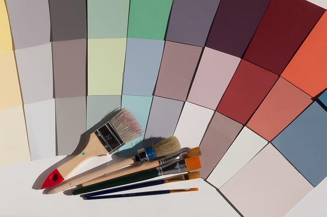 barevné vzory a štětce